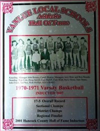 Vanlue Local Schools  Athletic Hall of Fame 1970-1971 Varsity Basketball Award