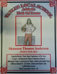 Vanlue Local Schools  Athletic Hall of Fame Award for Shannon Thomas Anderson
