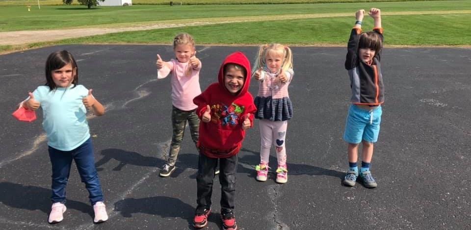 Kindergartners outside for gym class