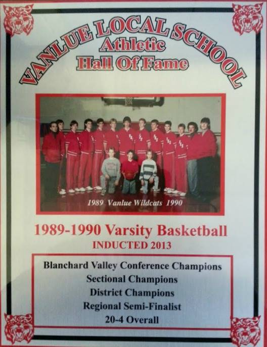 Vanlue Local Schools  Athletic Hall of Fame 1989-1990 Varsity Basketball Award