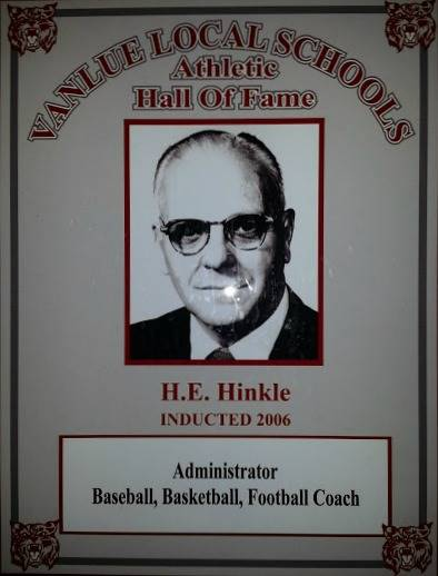 Vanlue Local Schools  Athletic Hall of Fame Award for H.E. Hinkle