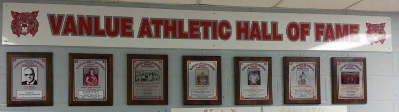 Vanlue Local Schools  Athletic Hall of Fame Awards on a wall