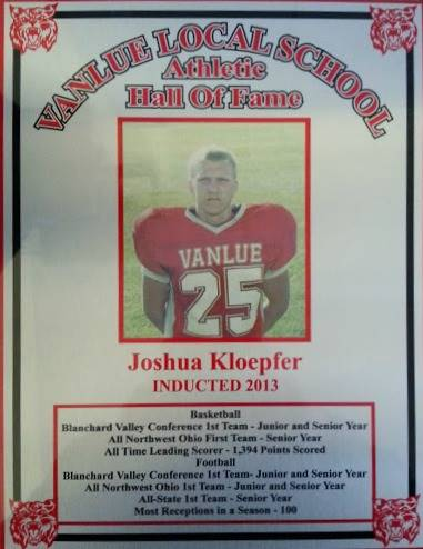 Vanlue Local Schools  Athletic Hall of Fame Award for Joshua Kloepfer