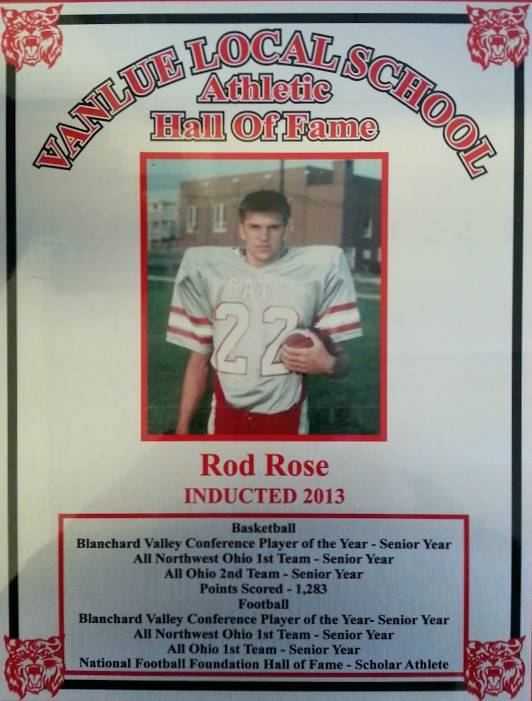 Vanlue Local Schools  Athletic Hall of Fame Award for Rod Rose